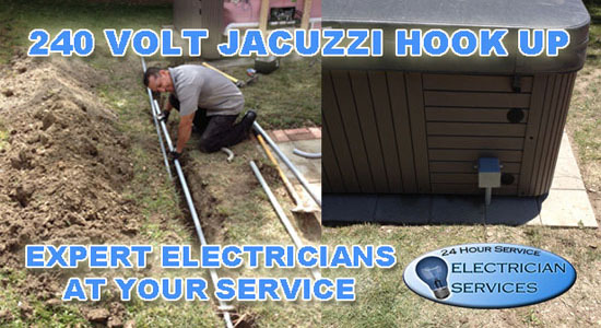 Underground conduit and wiring 240 volt 60 amp hook up for jacuzzi tub
